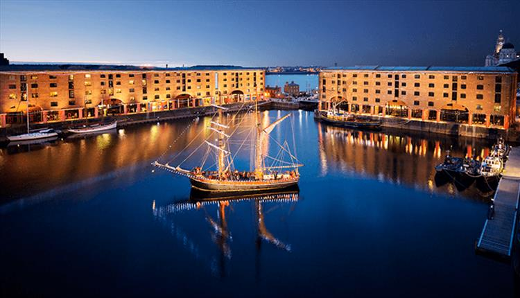 the Albert Dock at night time